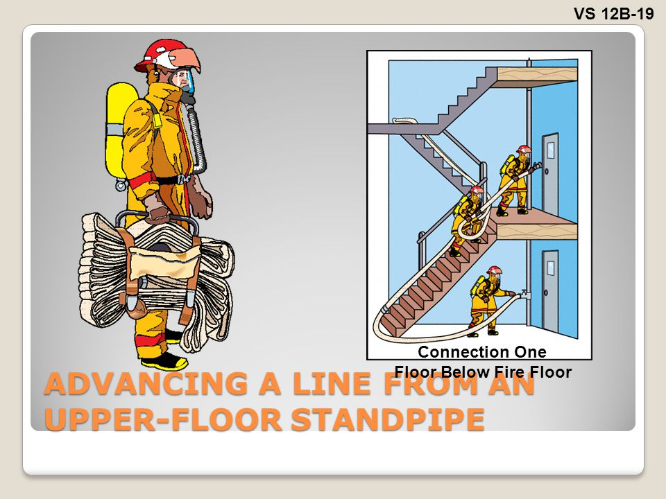 ADVANCING A LINE FROM AN UPPER-FLOOR STANDPIPE