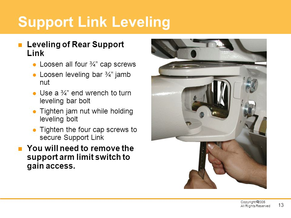 Support Link Leveling Leveling of Rear Support Link