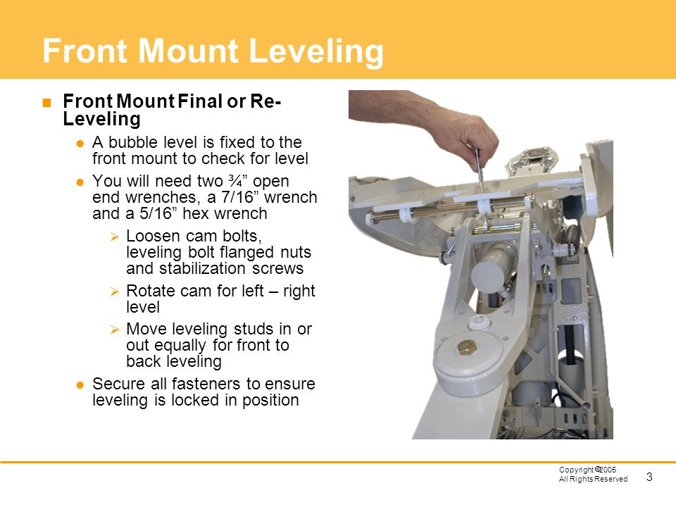 Front Mount Leveling Front Mount Final or Re-Leveling