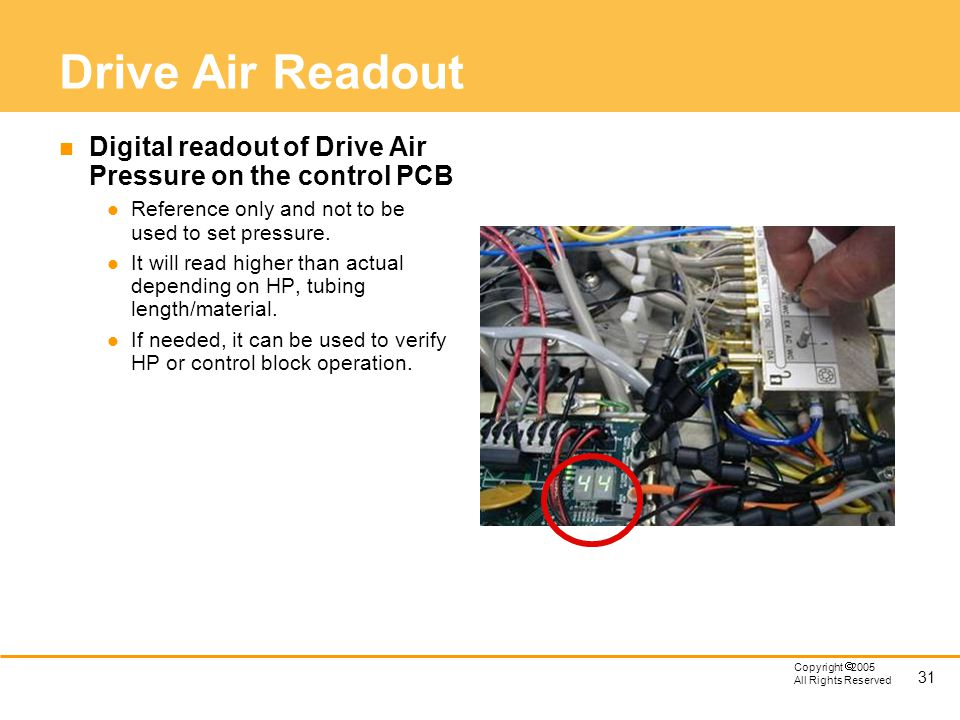 Drive Air Readout Digital readout of Drive Air Pressure on the control PCB. Reference only and not to be used to set pressure.