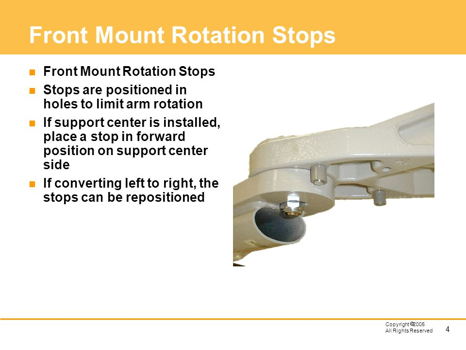 Front Mount Rotation Stops