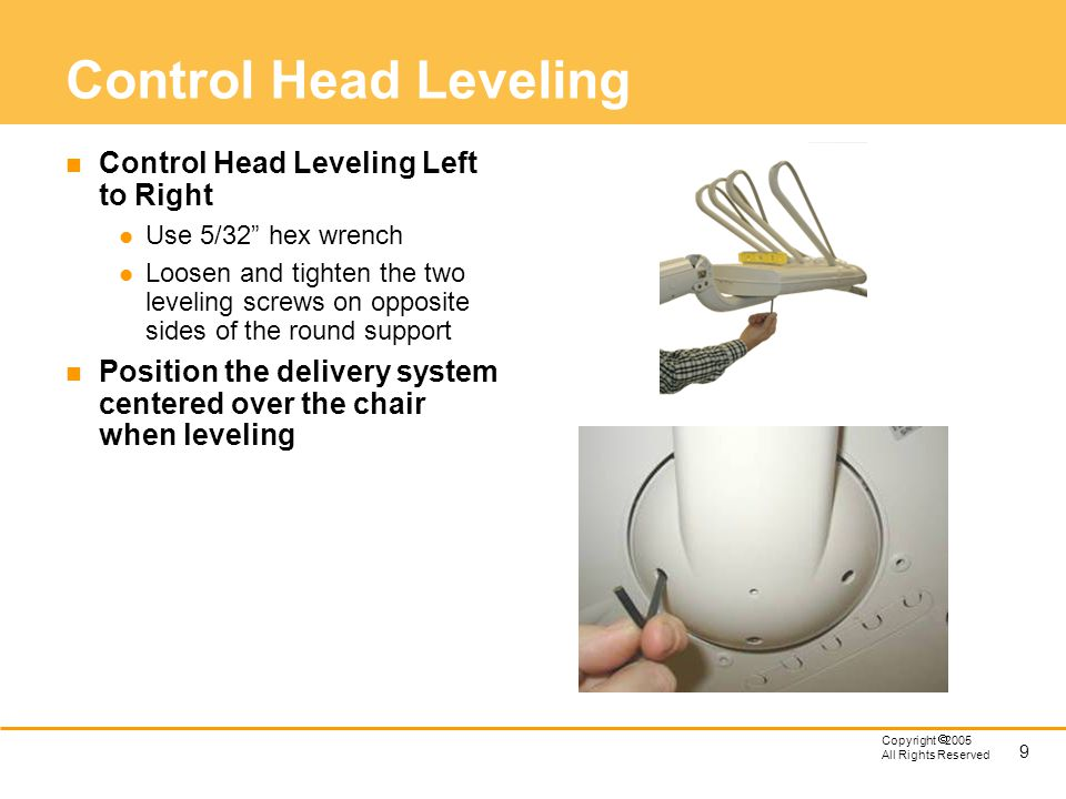 Control Head Leveling Control Head Leveling Left to Right