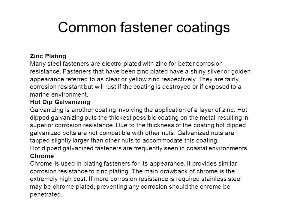 Common fastener coatings