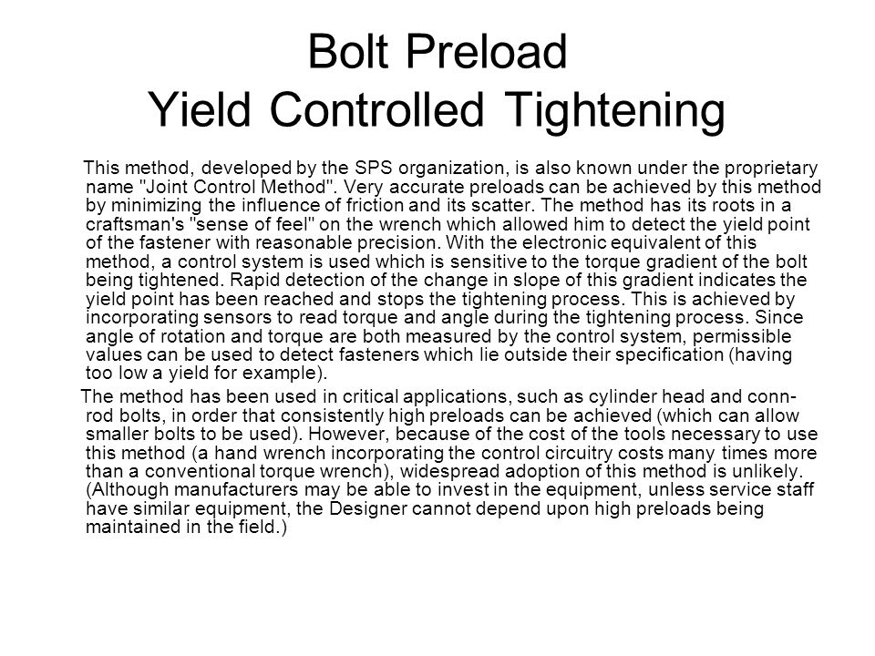 Bolt Preload Yield Controlled Tightening