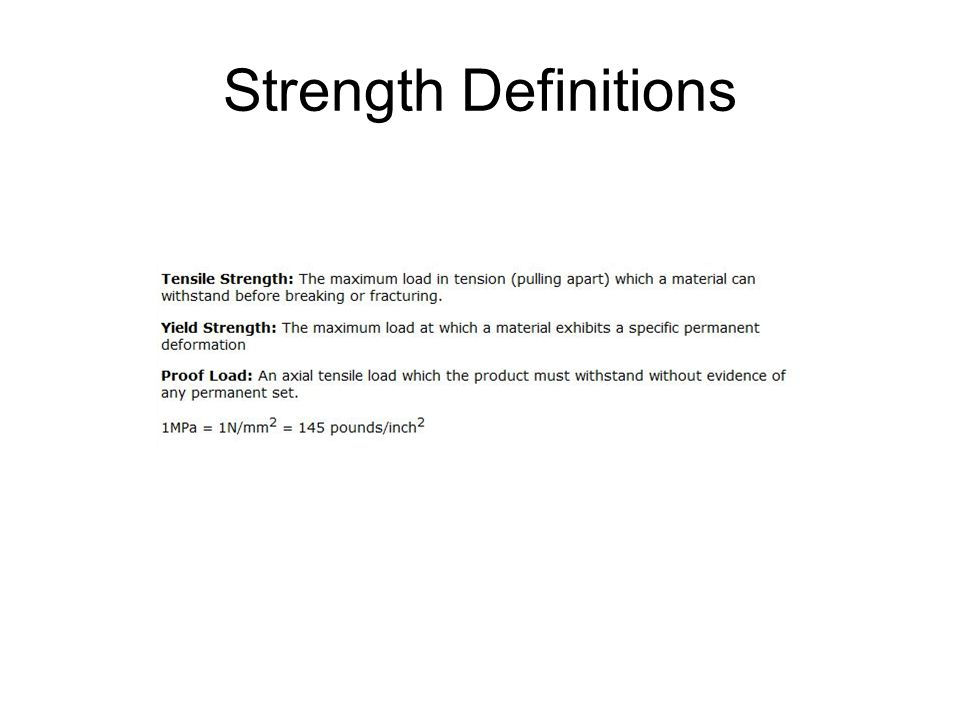 Strength Definitions