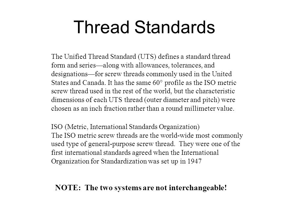 Thread Standards NOTE: The two systems are not interchangeable!