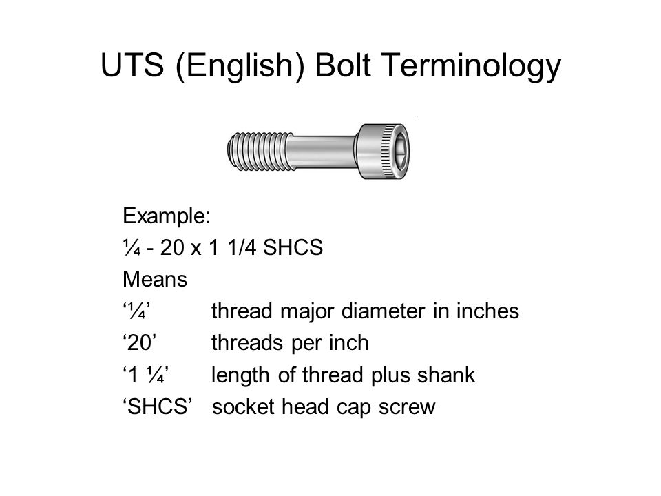 UTS (English) Bolt Terminology