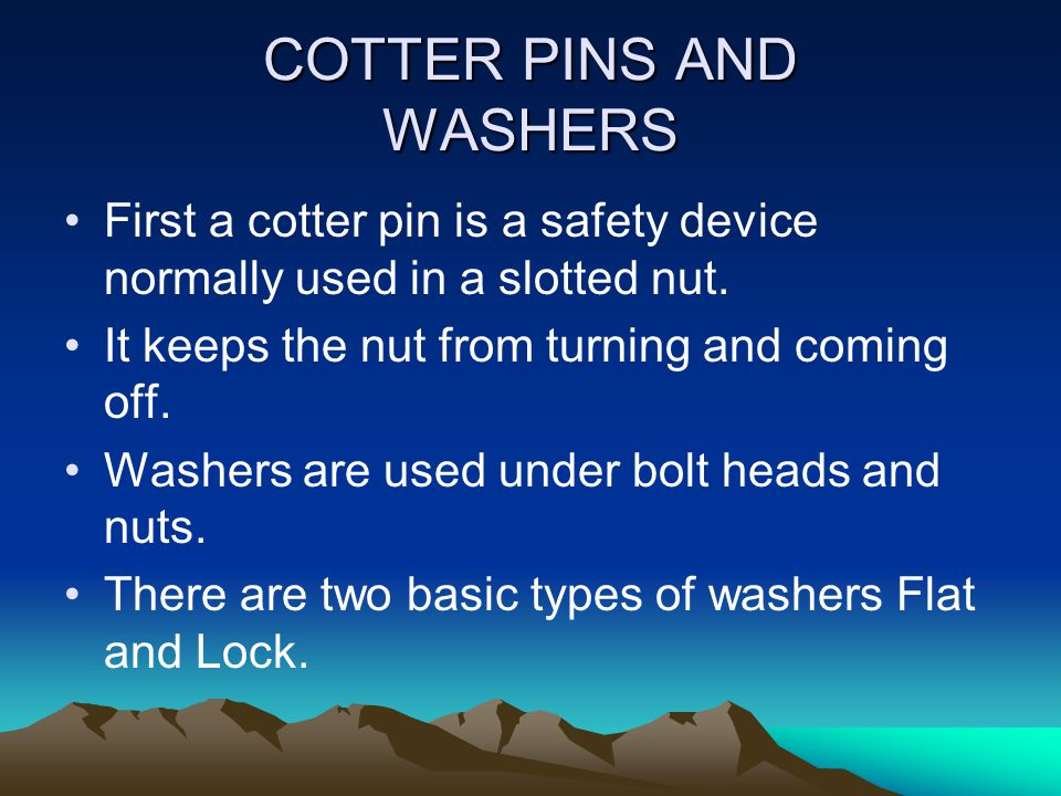 COTTER PINS AND WASHERS