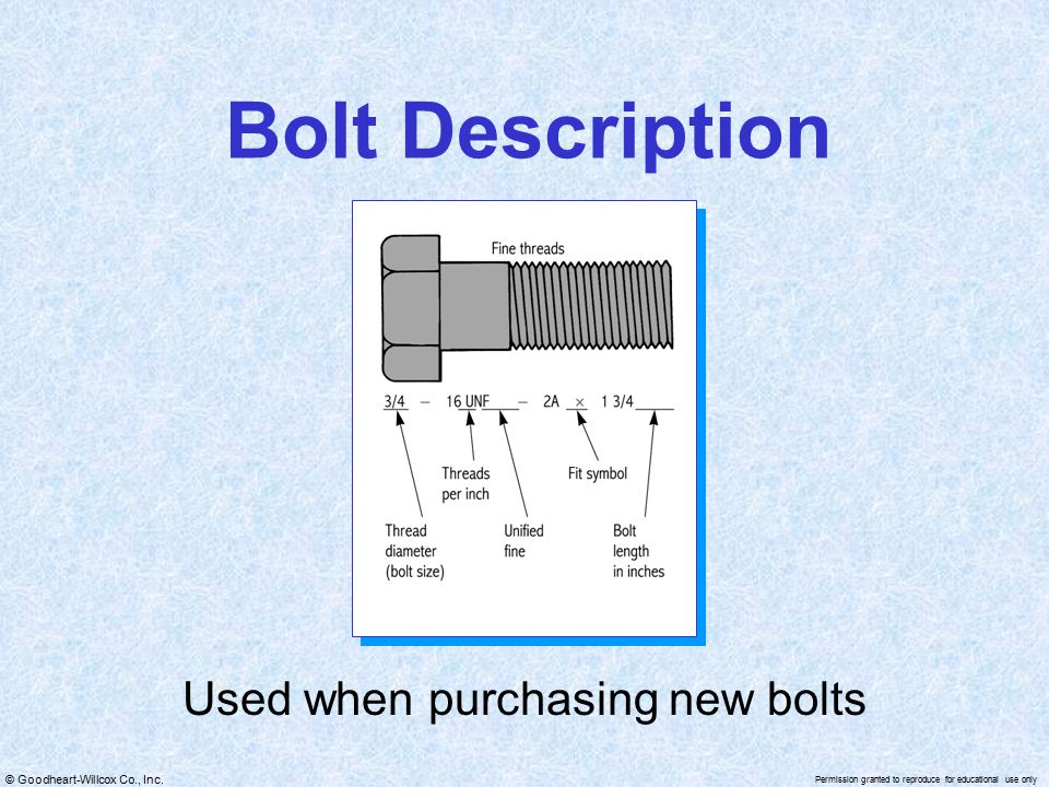 Used when purchasing new bolts