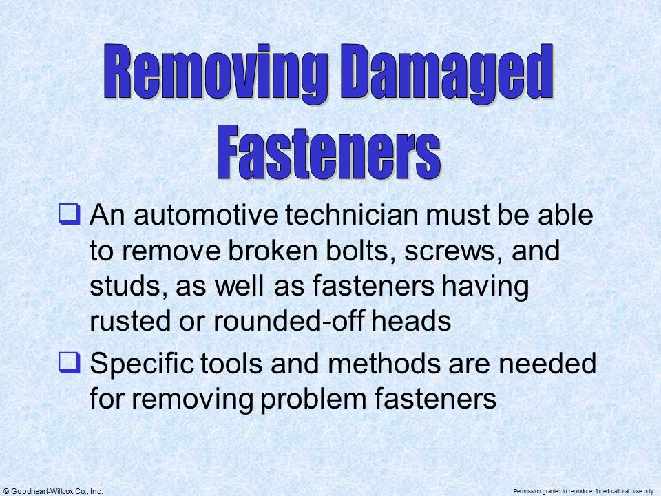 Removing Damaged Fasteners