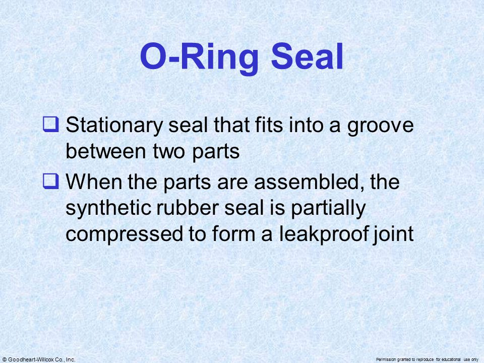 O-Ring Seal Stationary seal that fits into a groove between two parts