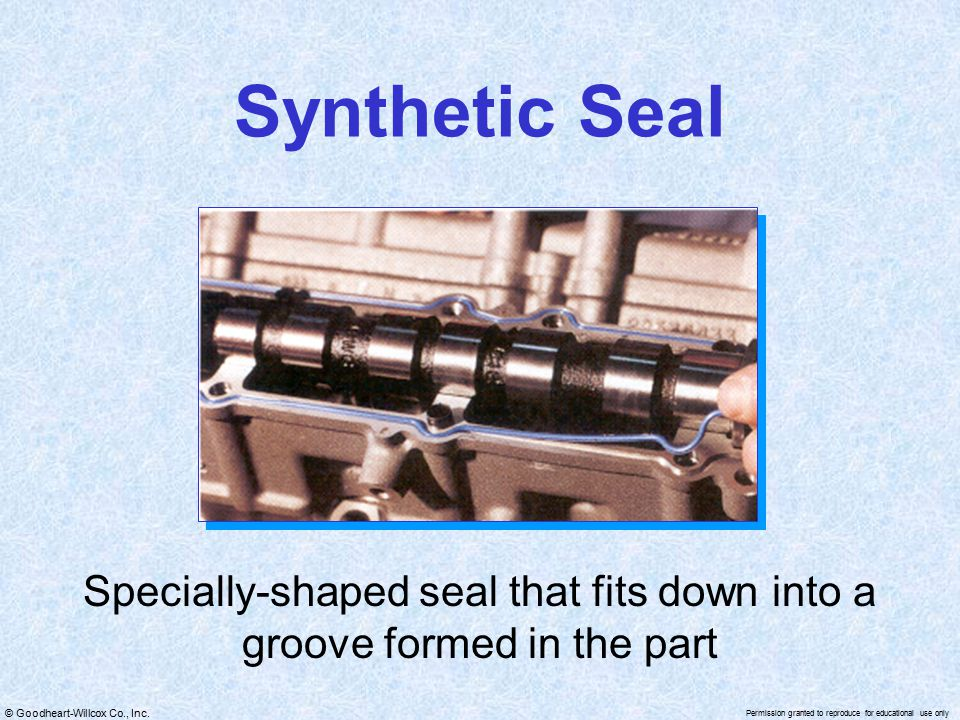 Specially-shaped seal that fits down into a groove formed in the part