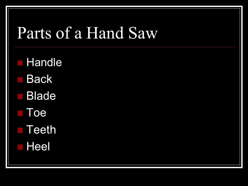 Parts of a Hand Saw Handle Back Blade Toe Teeth Heel