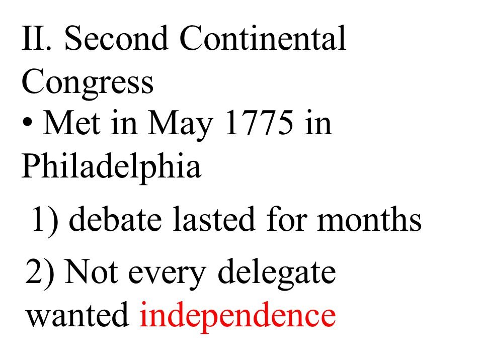 II. Second Continental Congress