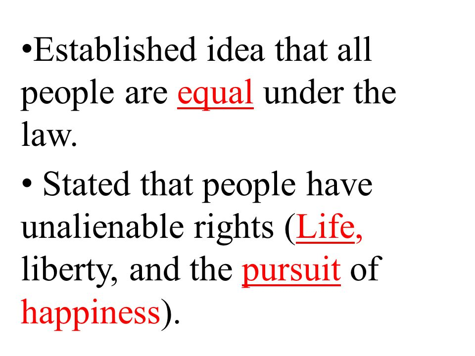 Established idea that all people are equal under the law.
