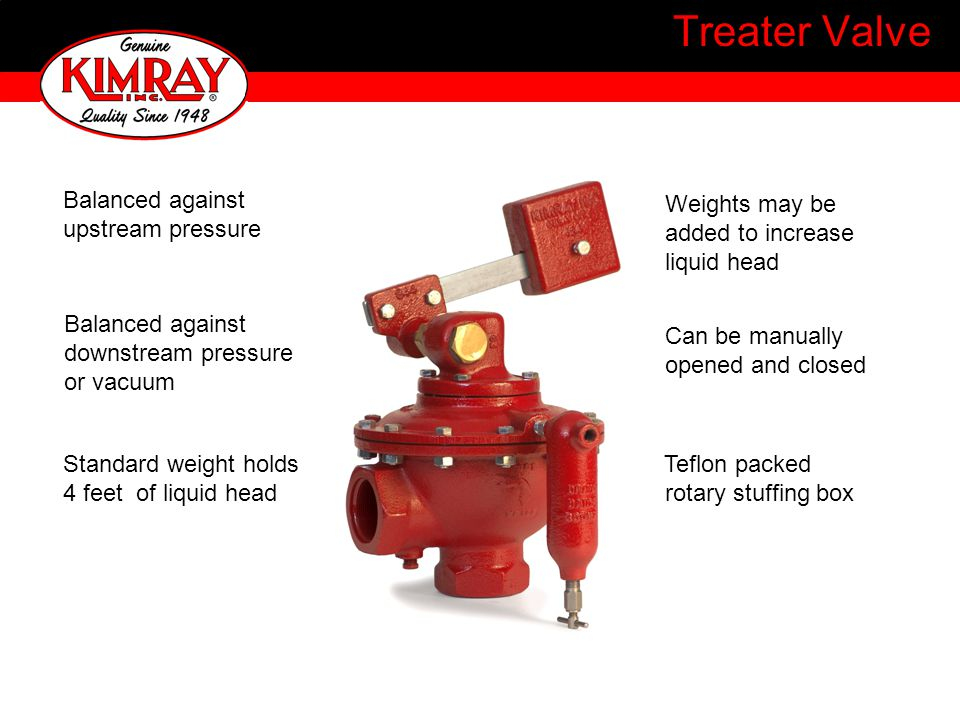Treater Valve Balanced against upstream pressure Weights may be