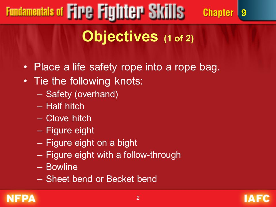 Objectives (1 of 2) Place a life safety rope into a rope bag.