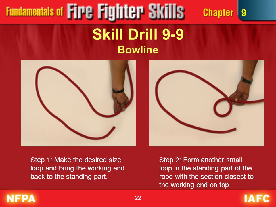 9 Skill Drill 9-9 Bowline. Step 1: Make the desired size loop and bring the working end back to the standing part.