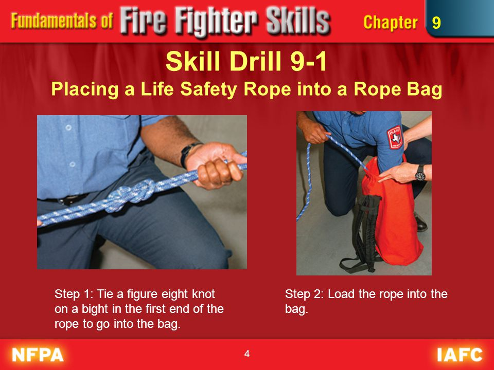 Skill Drill 9-1 Placing a Life Safety Rope into a Rope Bag