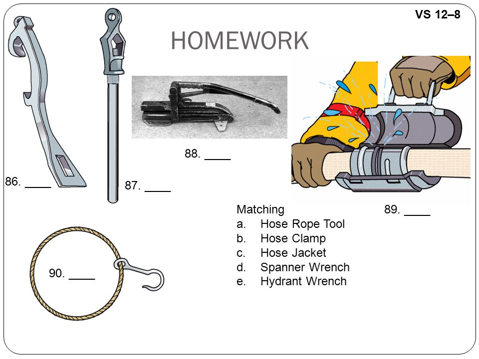 HOMEWORK VS 12–8 88. ____ 86. ____ 87. ____ Matching Hose Rope Tool