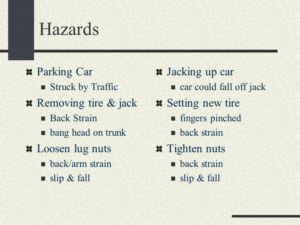 Hazards Parking Car Removing tire & jack Loosen lug nuts