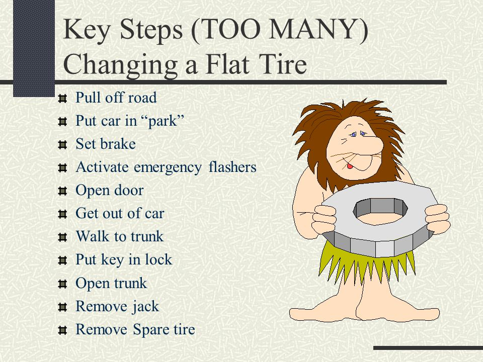Key Steps (TOO MANY) Changing a Flat Tire