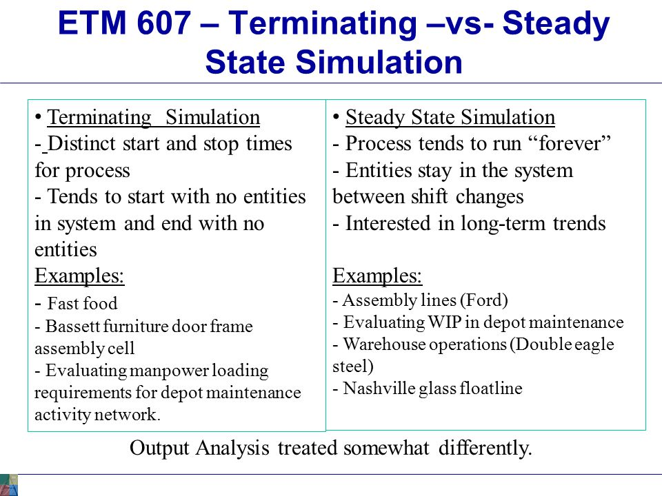 ETM 607 – Terminating –vs- Steady State Simulation