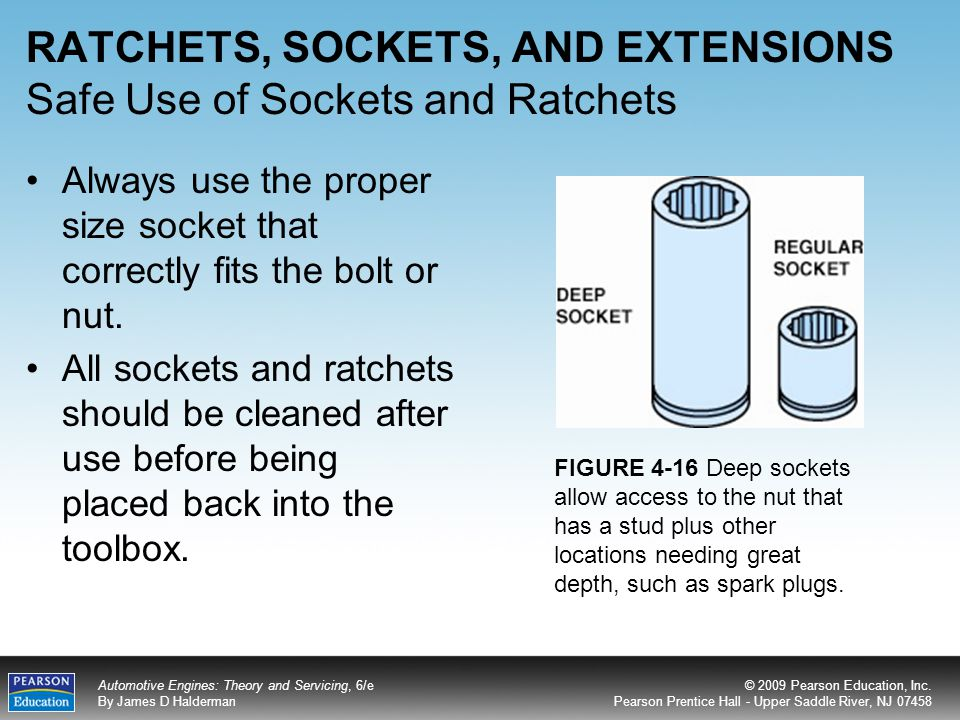 RATCHETS, SOCKETS, AND EXTENSIONS Safe Use of Sockets and Ratchets