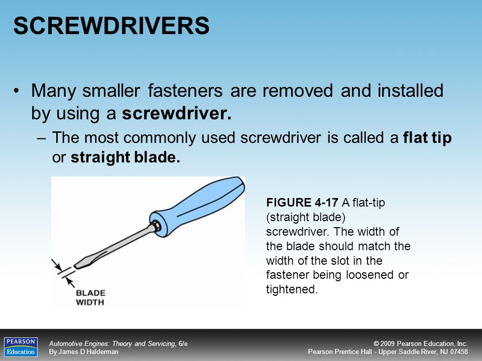 SCREWDRIVERS Many smaller fasteners are removed and installed by using a screwdriver.
