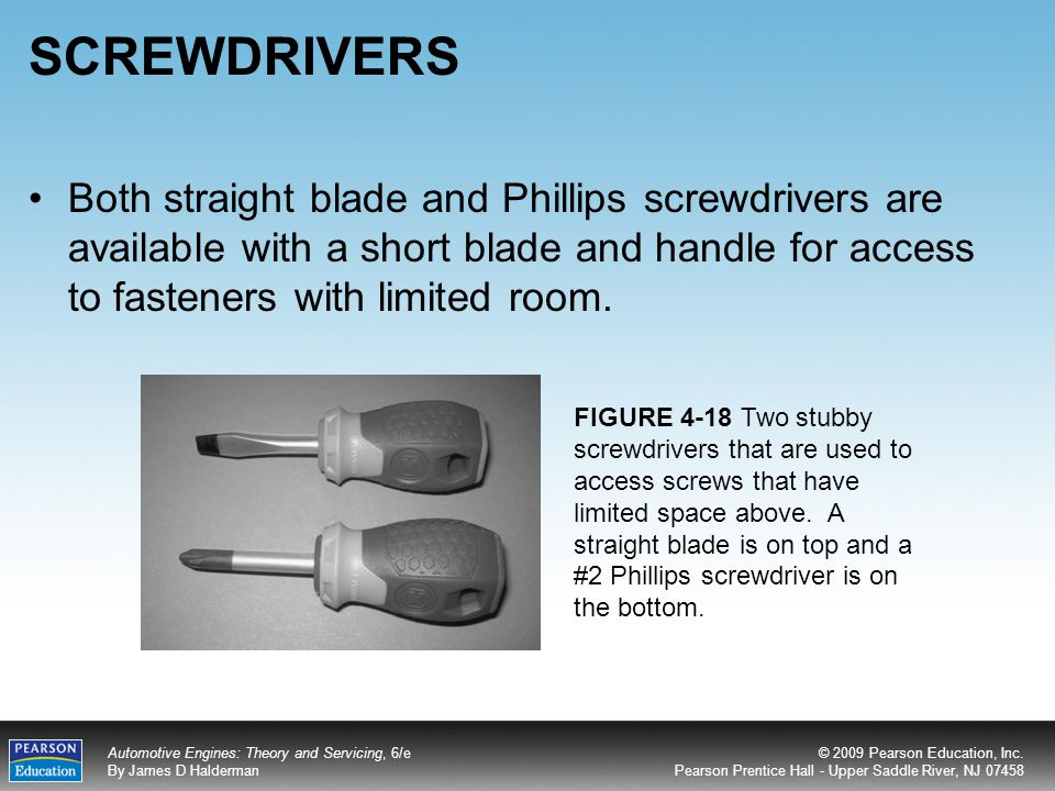 SCREWDRIVERS Both straight blade and Phillips screwdrivers are available with a short blade and handle for access to fasteners with limited room.