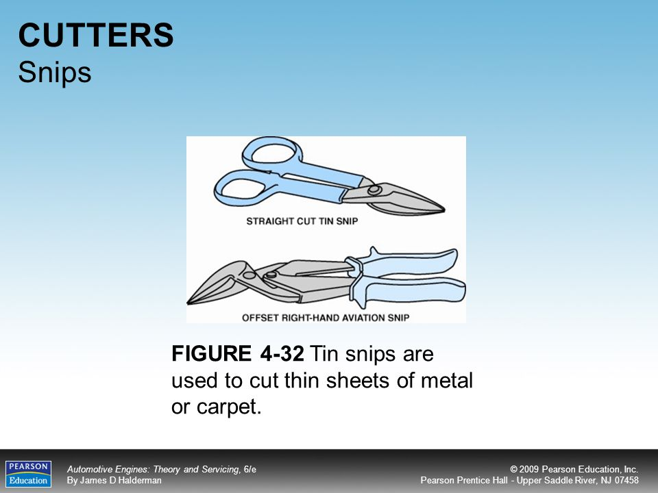 CUTTERS Snips FIGURE 4-32 Tin snips are used to cut thin sheets of metal or carpet.