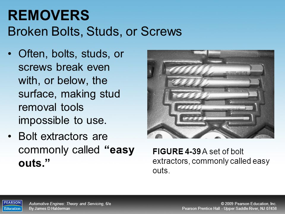 REMOVERS Broken Bolts, Studs, or Screws