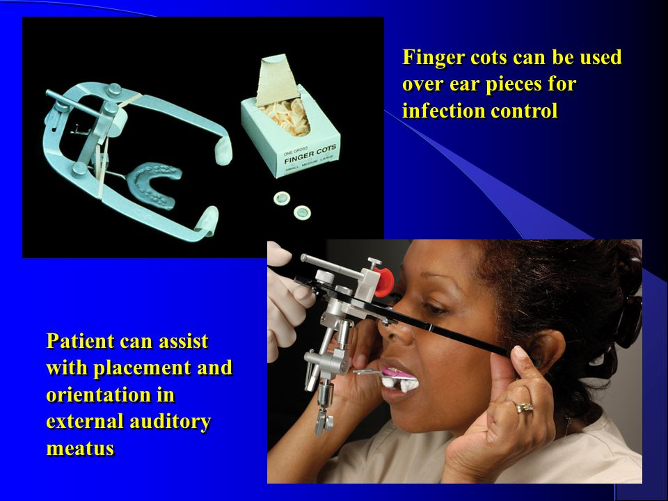 Finger cots can be used over ear pieces for infection control