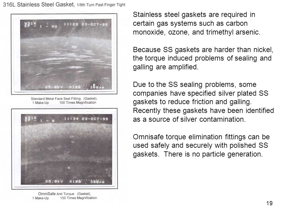 Stainless steel gaskets are required in certain gas systems such as carbon monoxide, ozone, and trimethyl arsenic.