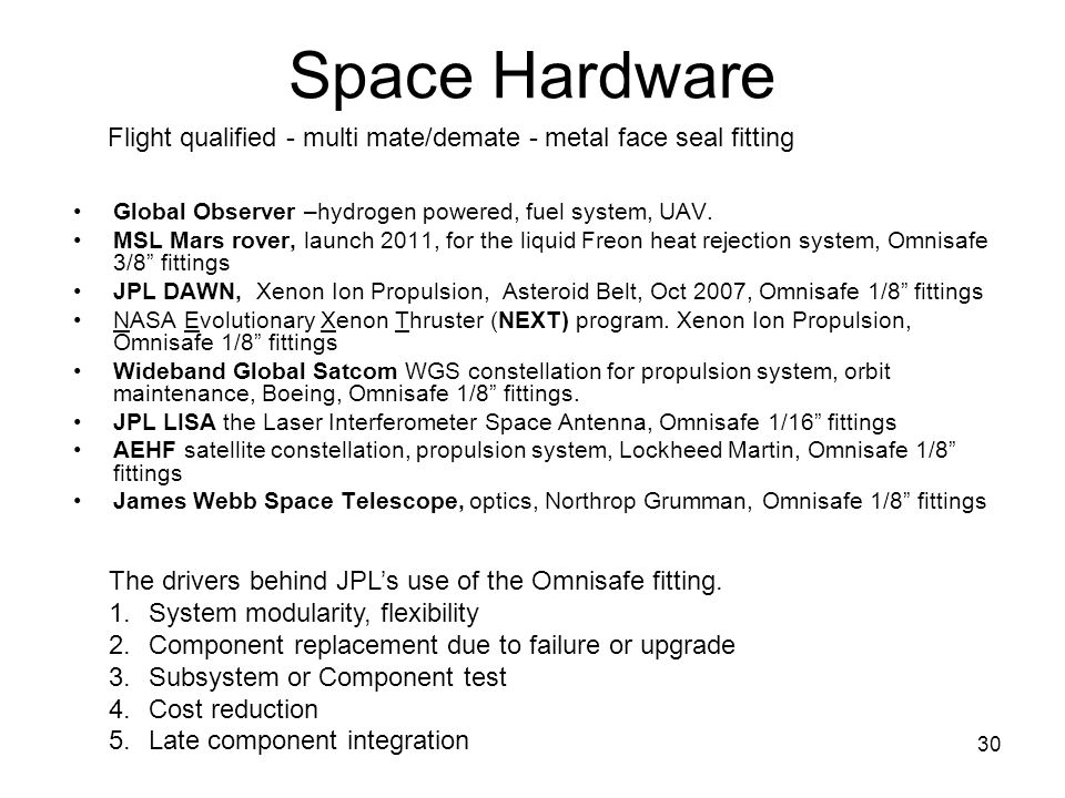 Space Hardware Flight qualified - multi mate/demate - metal face seal fitting. Global Observer –hydrogen powered, fuel system, UAV.