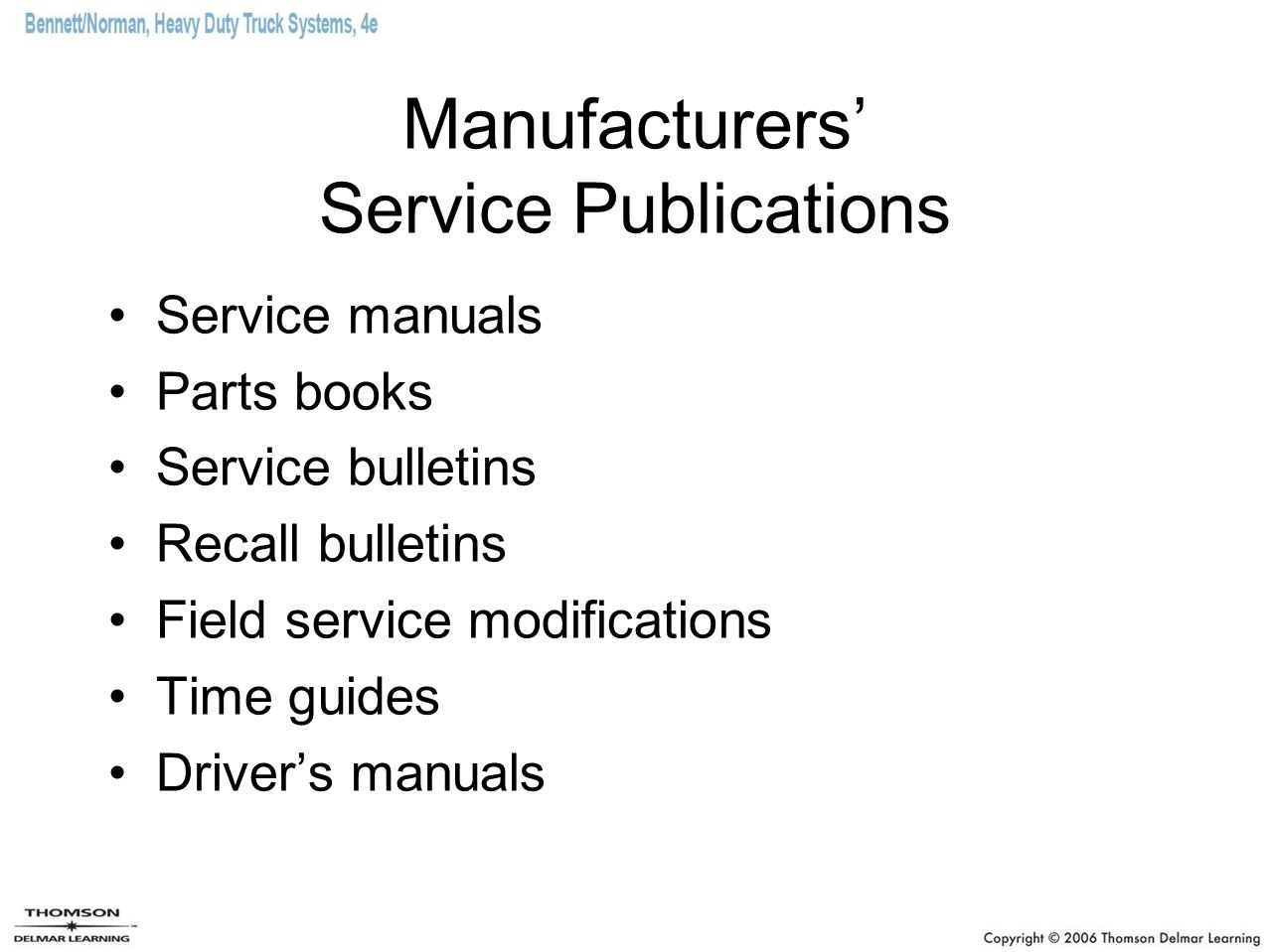 Manufacturers' Service Publications