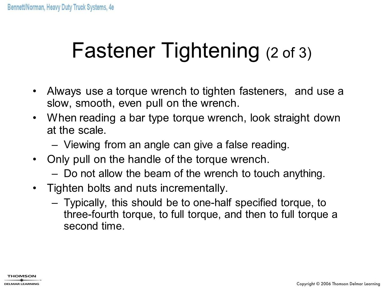 Fastener Tightening (2 of 3)