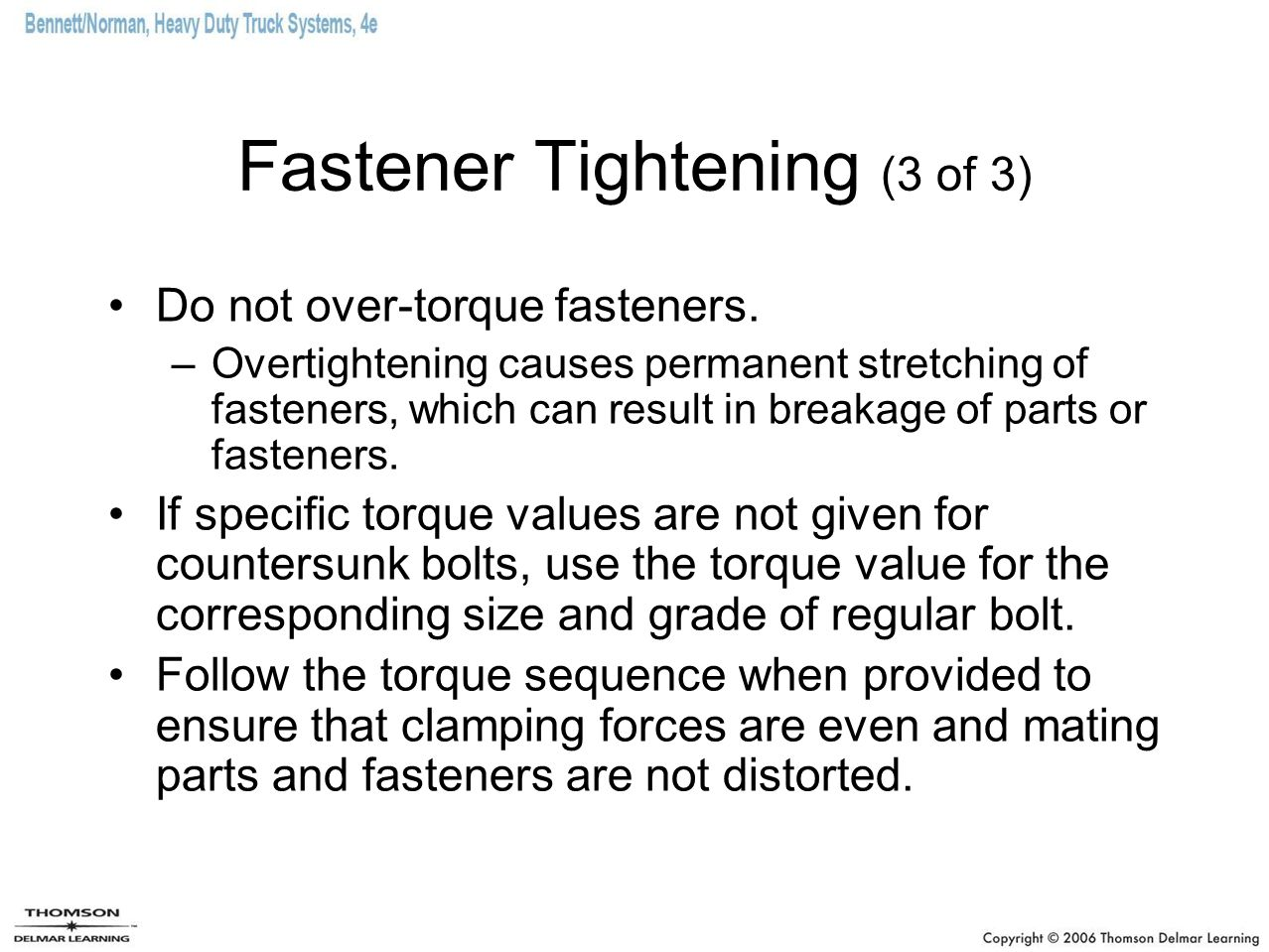 Fastener Tightening (3 of 3)