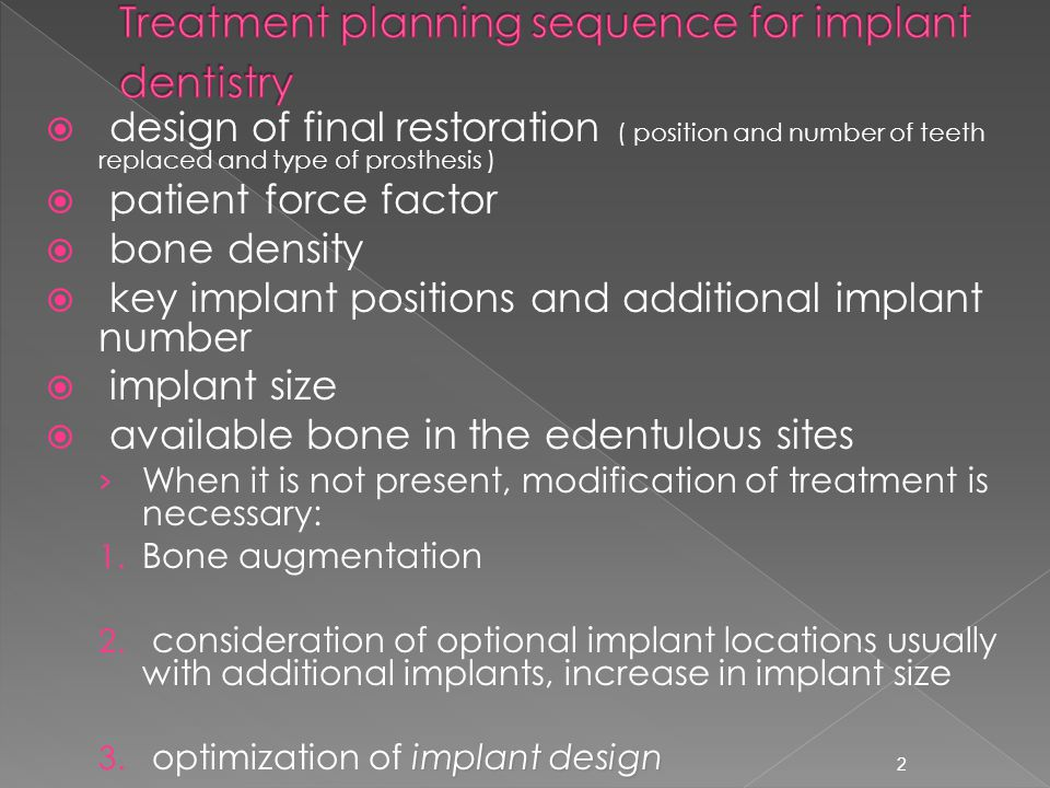 Treatment planning sequence for implant dentistry