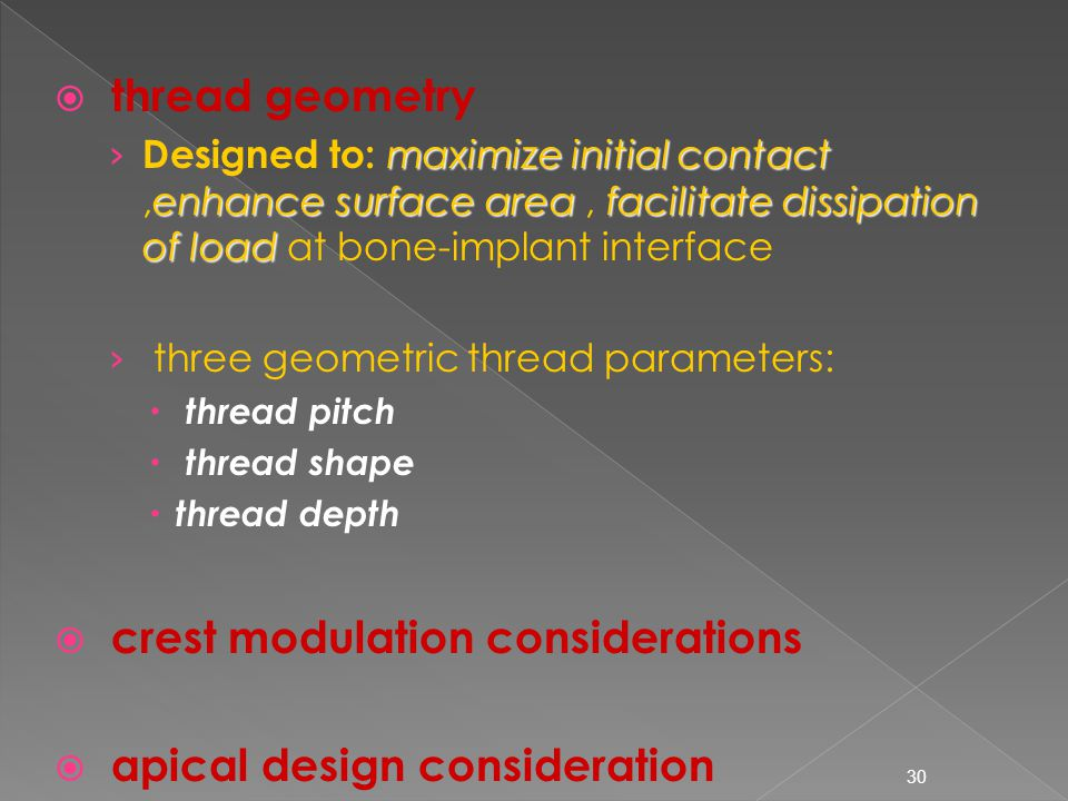 crest modulation considerations apical design consideration