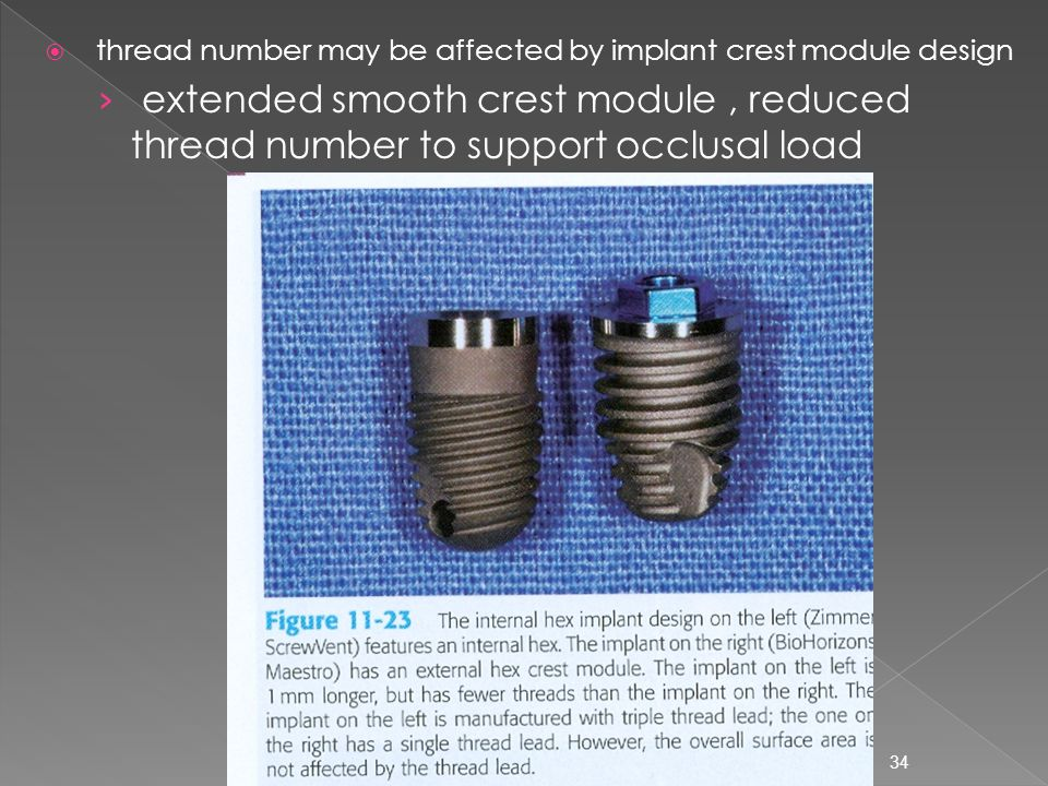 thread number may be affected by implant crest module design
