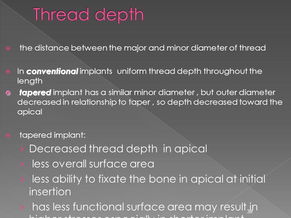 Thread depth Decreased thread depth in apical