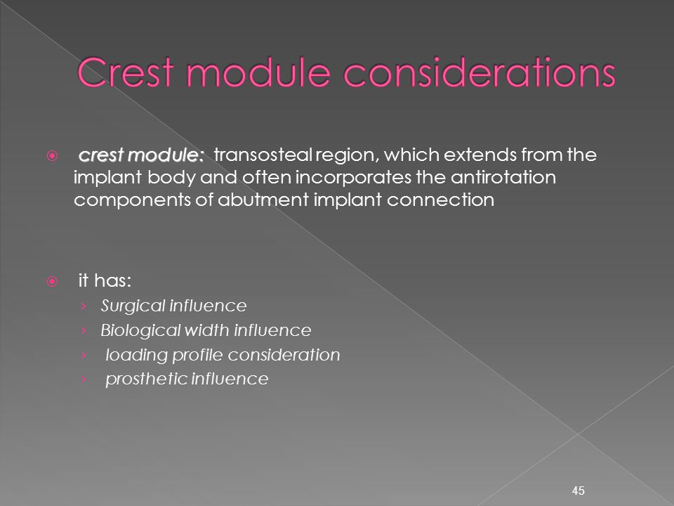 Crest module considerations