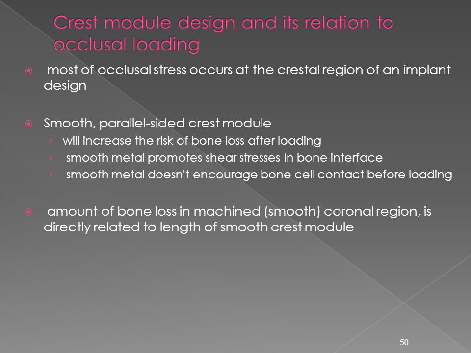 Crest module design and its relation to occlusal loading