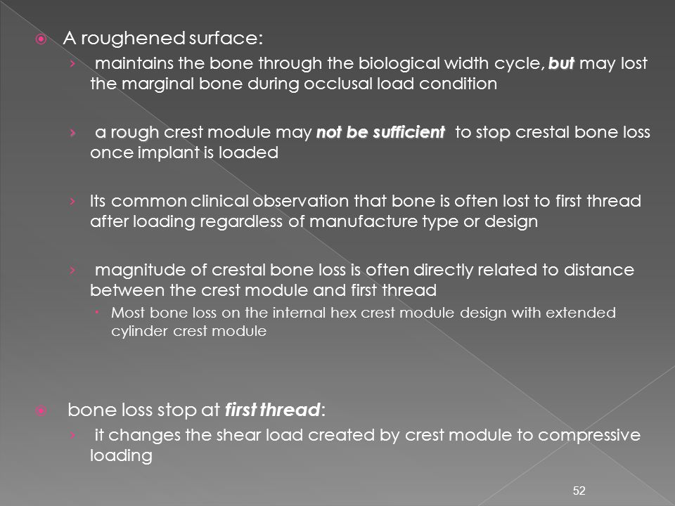 bone loss stop at first thread: