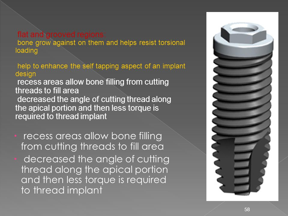 recess areas allow bone filling from cutting threads to fill area