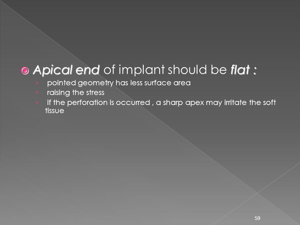 Apical end of implant should be flat :