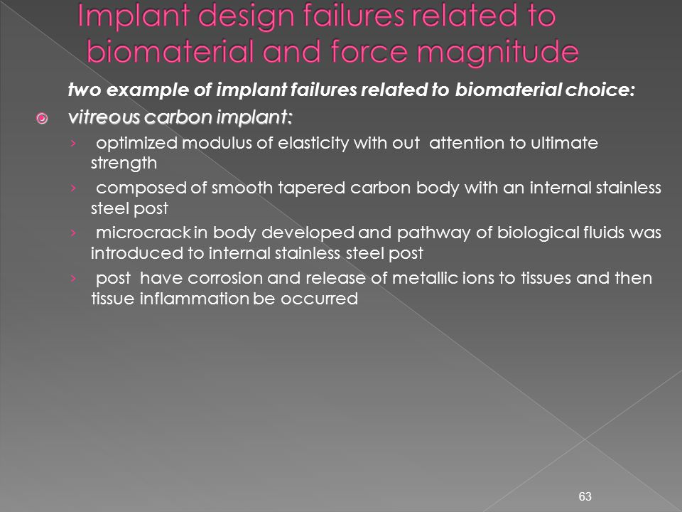 Implant design failures related to biomaterial and force magnitude