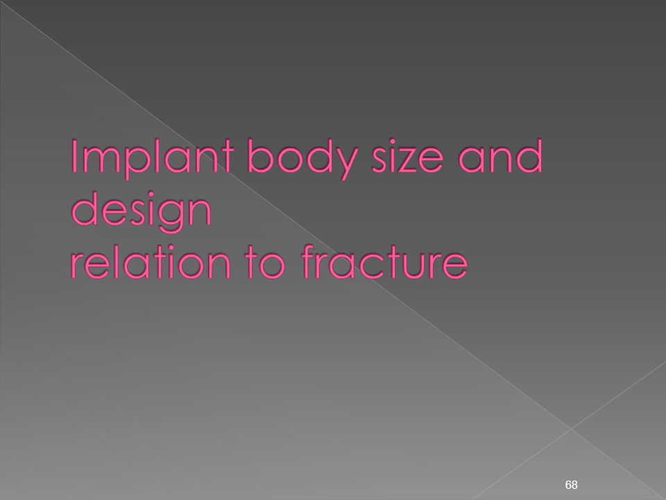 Implant body size and design relation to fracture