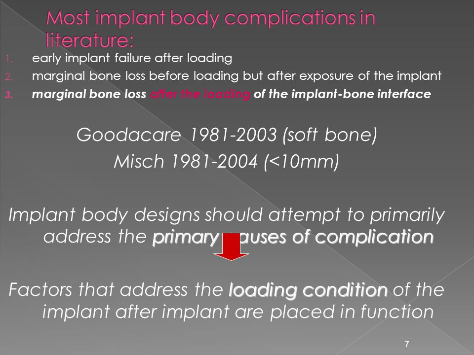 Most implant body complications in literature: